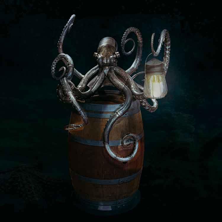 Octopus-Metal-Sculpture-On-Wine-Drum
