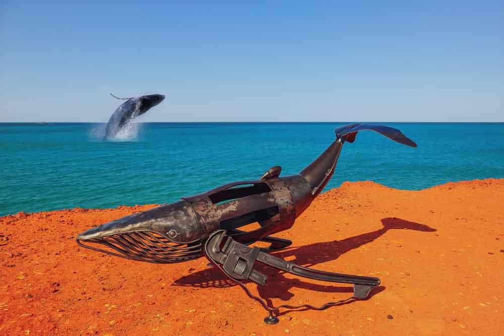 metal sculpture whale